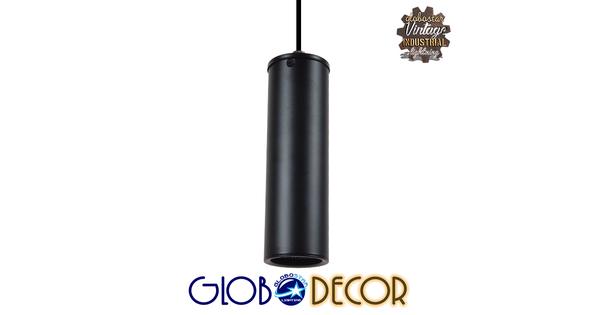 Μοντέρνο Κρεμαστό Φωτιστικό Οροφής Spot Gu10 Μονόφωτο Μαύρο Μεταλλικό Φ6  CANNON BLACK 01275
