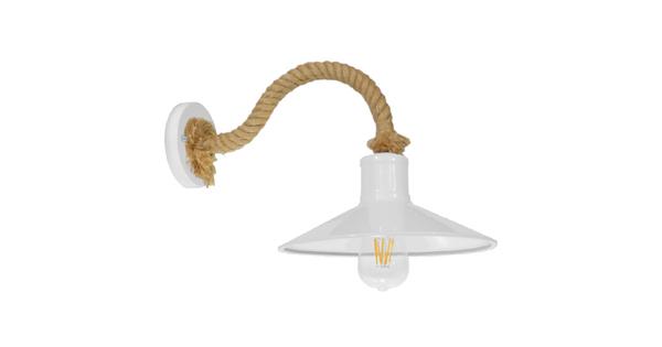 Vintage Φωτιστικό Τοίχου Απλίκα Μονόφωτο Λευκό Μεταλλικό Καμπάνα με Μπεζ Σχοινί Φ27  VINSA 01130