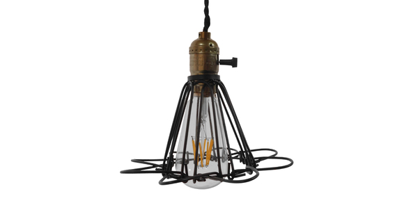 Vintage Industrial Κρεμαστό Φωτιστικό Οροφής Μαύρο Μεταλλικό Πλέγμα Φ10  FLOWER BLACK 01181
