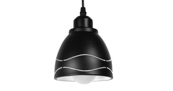 Μοντέρνο Κρεμαστό Φωτιστικό Οροφής Μονόφωτο Μεταλλικό Μαύρο Λευκό Καμπάνα Φ13  LAGUNA 01477