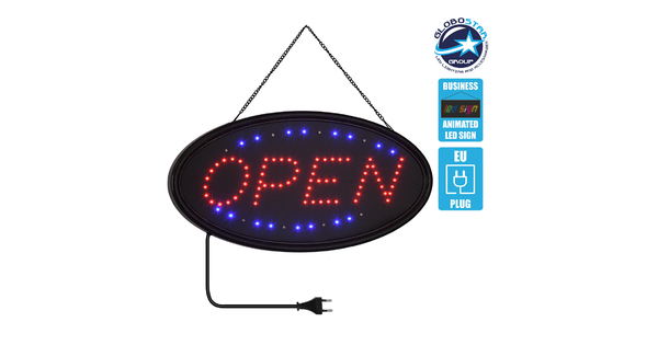 75683 Φωτιστικό Ταμπέλα LED Σήμανσης OPEN με Πρίζα AC 230V Μ47.5xΠ24.5xΥ2.5cm