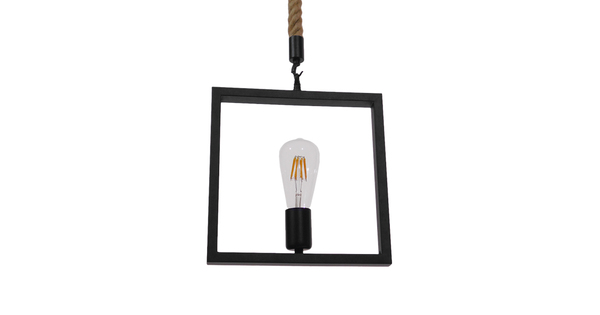 Vintage Κρεμαστό Φωτιστικό Οροφής Μονόφωτο Μαύρο Μεταλλικό με Μπεζ Σχοινί GloboStar FRAISE 01077