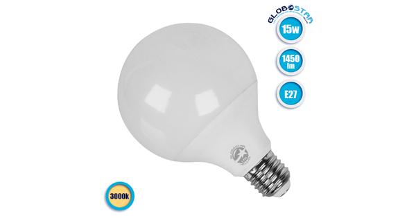 Γλόμπος LED G95 με βάση E27 15 Watt 230v Θερμό  01735