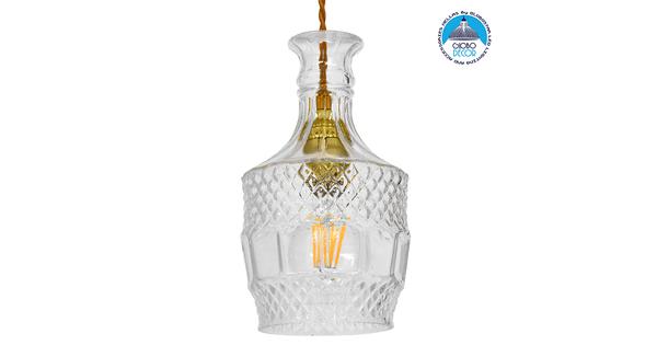 Vintage Κρεμαστό Φωτιστικό Οροφής Μονόφωτο Γυάλινο Διάφανο Φ13  WHISKEY 01513