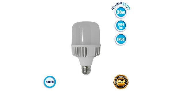Λάμπα LED E27 High Bay 30W 230V 2900lm 260° Αδιάβροχη IP54 Ψυχρό Λευκό 6000k GloboStar 78003