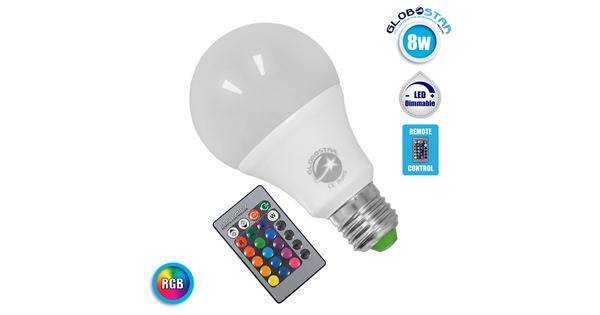 Λαμπτήρας LED E27 Γλόμπος 8 Watt 220 Volt RGB με Ασύρματο Χειριστήριο  88964