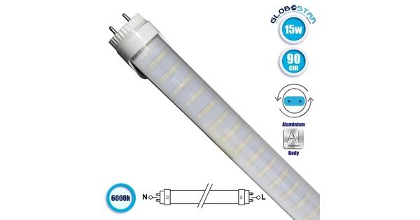 76182 Λάμπα LED Τύπου Φθορίου T8 Αλουμινίου Τροφοδοσίας Δύο Άκρων 90cm 15W 230V 1400lm 180° με Καθαρό Κάλυμμα Ψυχρό Λευκό 6000k