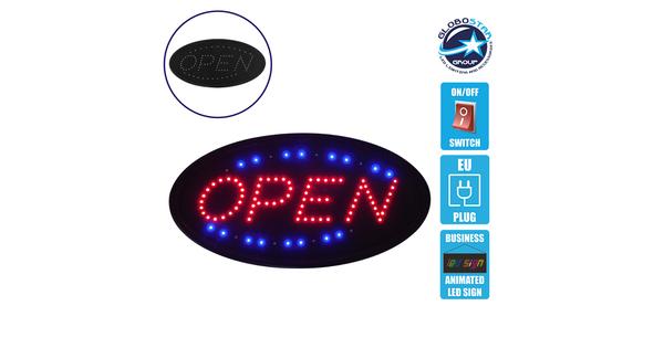 Φωτιστικό LED Σήμανσης OPEN με Διακόπτη ON/OFF και Πρίζα 230v 48x2x25cm GloboStar 96302