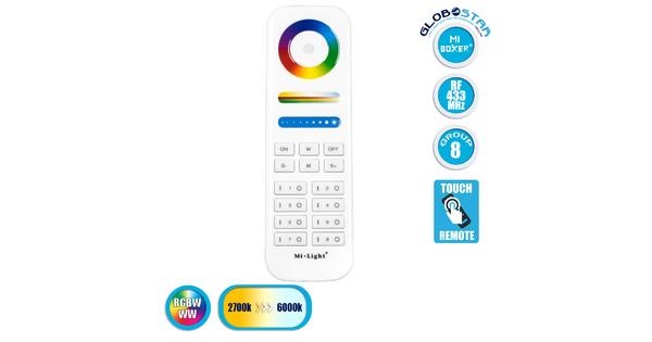 GloboStar® 73426 Ασύρματο Χειριστήριο Αφής έως 8 Group Wireless RF 2.4Ghz LED RGBW+WW Smart Touch Panel 8-Zone Mi-Light FUT089 433MHz RF 2.4G