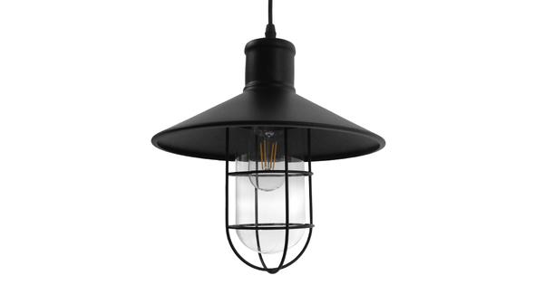 Vintage Industrial Κρεμαστό Φωτιστικό Οροφής Μονόφωτο Μαύρο Μεταλλικό Καμπάνα Φ27  SKIPPER 01034