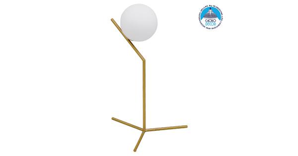 Μοντέρνο Επιτραπέζιο Φωτιστικό Πορτατίφ Μονόφωτο Χρυσό Μεταλλικό με Λευκό Γυαλί Φ15  ELFIS GOLD 01551