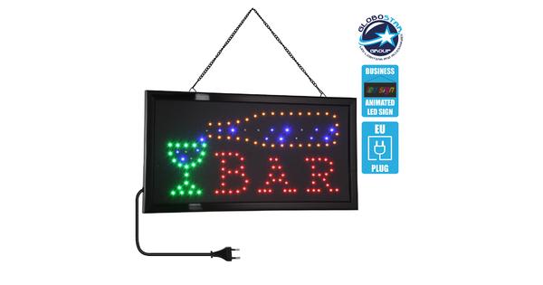 75689 Φωτιστικό Ταμπέλα LED Σήμανσης BAR με Πρίζα AC 230V Μ48xΠ25xΥ2cm