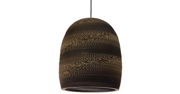 Vintage Κρεμαστό Φωτιστικό Οροφής Μονόφωτο 3D από Επεξεργασμένο Σκληρό Καφέ Χαρτόνι Καμπάνα Φ35 GloboStar SKIATHOS 01296