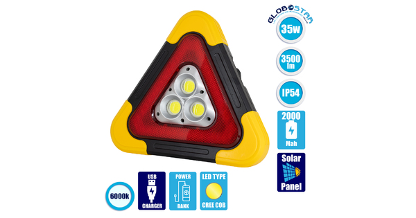 GloboStar® 79081 Φορητό Επαναφορτιζόμενο Τρίγωνο Ασφαλείας - Προβολέας Εργασίας LED COB 35W 3500lm με Ενσωματωμένη Μπαταρία 2000mAh & Φωτοβολταϊκό Πάνελ - 5 Light Modes & Power Bank με Καλώδιο Φόρτιση