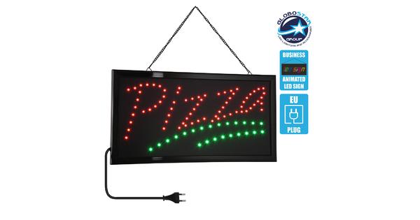 75684 Φωτιστικό Ταμπέλα LED Σήμανσης PIZZA με Πρίζα AC 230V Μ48xΠ25xΥ2cm