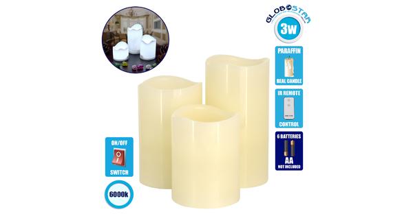 GloboStar® 79554 ΣΕΤ 3 Διακοσμητικών Κεριών Παραφίνης με LED Μπαταρίας & Ασύρματο Χειριστήριο IR Ψυχρό Λευκό 6000K