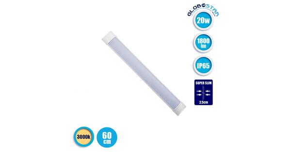 LED Γραμμικό Φωτιστικό Τύπου T8 Πρισματικού Φωτισμού 20 Watt 1800 Lumen 60cm IP65 Θερμό Λευκό 3000k  40009