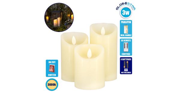 79555 ΣΕΤ 3 Διακοσμητικών Κεριών Παραφίνης με LED Μπαταρίας & Ασύρματο Χειριστήριο IR Θερμό Λευκό 3000K