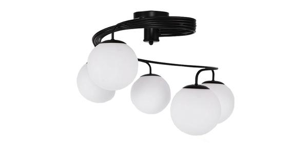 Μοντέρνο Φωτιστικό Οροφής Πολύφωτο Μαύρο Μεταλλικό με Λευκό Γυαλί Φ63  SELINA 01090