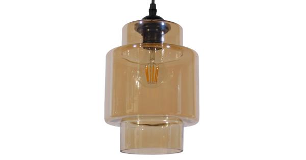 Vintage Industrial Κρεμαστό Φωτιστικό Οροφής Μονόφωτο Γυάλινο Φιμέ Καφέ Φ18  ROLLAND 01078