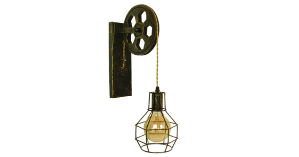 Vintage Industrial Φωτιστικό Τοίχου Απλίκα Μονόφωτο Μπρούτζινο Ξύλινο Μεταλλικό Πλέγμα Φ15  FORME 01659