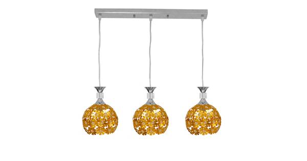 Μοντέρνο Κρεμαστό Φωτιστικό Οροφής Τρίφωτο Χρυσό Μεταλλικό με Κρύσταλλα GloboStar MARGARO 01671