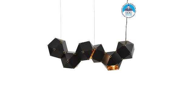 WELLES Replica 00797 Μοντέρνο Κρεμαστό Φωτιστικό Οροφής Πολύφωτο Μεταλλικό Μαύρο Χρυσό Μ98 x Π32 x Υ30cm