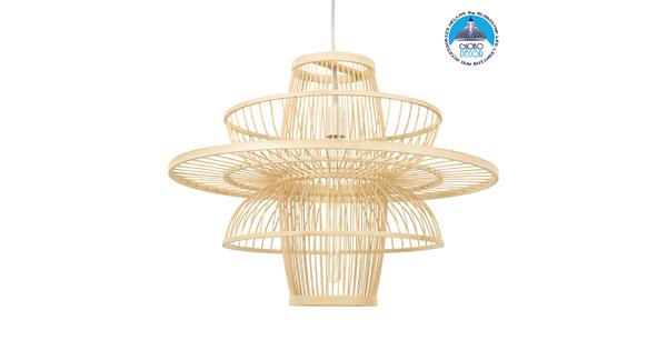BALI 00862 Vintage Κρεμαστό Φωτιστικό Οροφής Μονόφωτο Μπεζ Ξύλινο Bamboo Φ60 x Y45cm