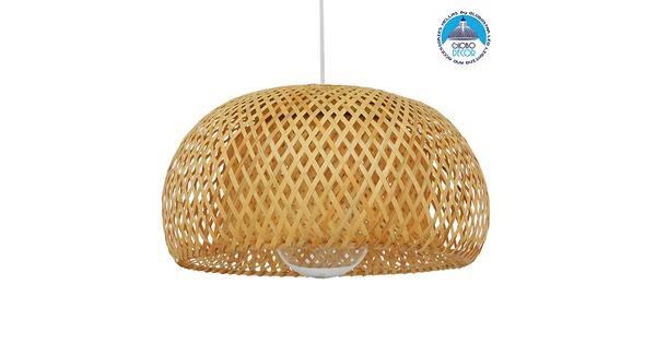 Vintage Κρεμαστό Φωτιστικό Οροφής Μονόφωτο Καφέ Ξύλινο Bamboo Φ38  SAN TROPEZ 01626