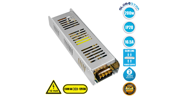 GloboStar® 73004 Τροφοδοτικό LED Ultra Slim 200W DC 12V 16.5A IP20 Μ22.5 x Π6.8 x Υ4cm