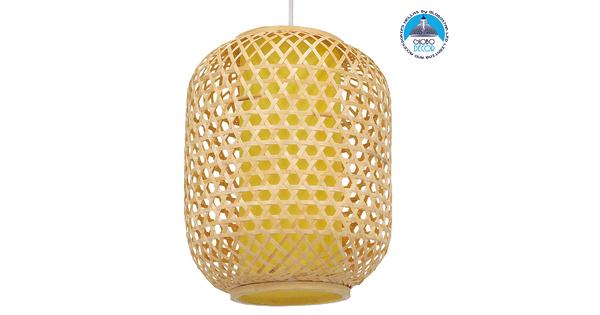 Vintage Κρεμαστό Φωτιστικό Οροφής Μονόφωτο Καφέ Ξύλινο Bamboo Φ30  MAURITIUS Φ30 00899
