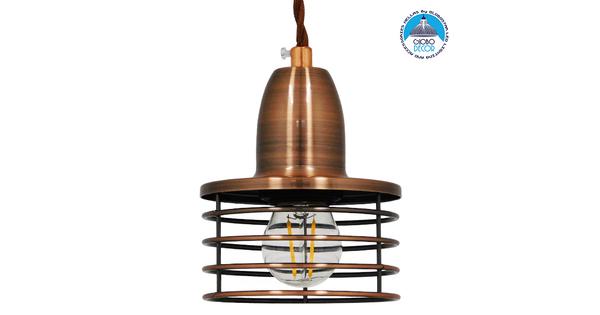 Μοντέρνο Industrial Κρεμαστό Φωτιστικό Οροφής Μονόφωτο Μεταλλικό Χάλκινο Καμπάνα Φ11 GloboStar MANHATTAN COPPER 01453