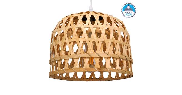 Vintage Κρεμαστό Φωτιστικό Οροφής Μονόφωτο Καφέ Ξύλινο Bamboo Ø32xY30cm  MANGEA Ø32xY30CM 01634