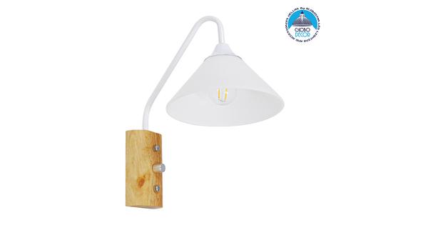 Μοντέρνο Φωτιστικό Τοίχου Απλίκα Μονόφωτο Λευκό με Ξύλινη Βάση Μεταλλικό Φ18  ALESSIA WHITE 01458