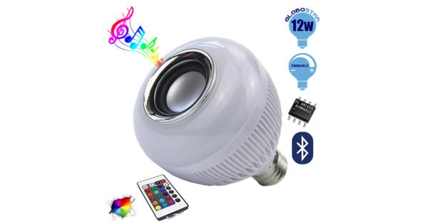 Λάμπα E27 12 Watt Bluetooth με Ηχείο και Ασύρματο Χειριστήριο RGBW GloboStar 06631