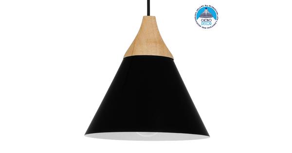 Μοντέρνο Κρεμαστό Φωτιστικό Οροφής Μονόφωτο Μαύρο Μεταλλικό με Ξύλο Καμπάνα Φ23 GloboStar SHADE BLACK 00906