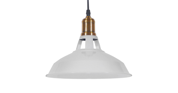 Vintage Industrial Κρεμαστό Φωτιστικό Οροφής Μονόφωτο Λευκό Μεταλλικό Καμπάνα Φ28  ANER WHITE 01072