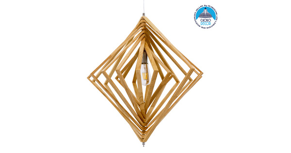 Μοντέρνο Κρεμαστό Φωτιστικό Οροφής Μονόφωτο Μπεζ Ξύλινο Μ64xΠ2xY66cm GloboStar OCTAVE 01431