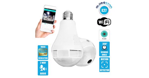 GloboStar® 07055 WIFI 2.4G IP CAMERA 2.0MP 1080P - Έξυπνη Κρυφή IP Κάμερα WiFi 1080P Fish Eye 360° 3W LED σε Σχήμα Λάμπας με Ντουί και Βάση E27 Smart Home