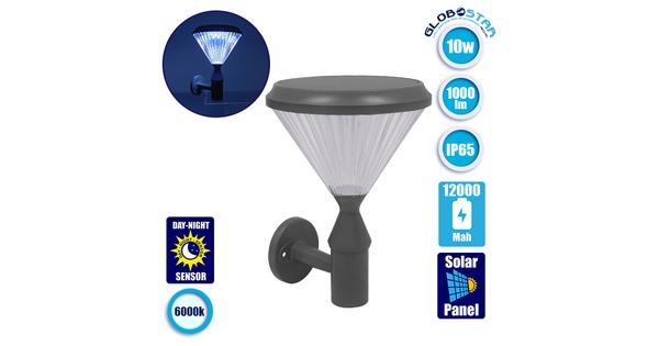 Αυτόνομο Αδιάβροχο IP65 Ηλιακό Φωτοβολταϊκό Φωτιστικό Τοίχου 26x37x26cm LED 10W με Αισθητήρα Νυχτός Ψυχρό Λευκό 6000k  12125