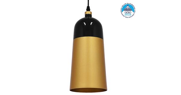 Μοντέρνο Κρεμαστό Φωτιστικό Οροφής Μονόφωτο Μαύρο - Χρυσό Μεταλλικό Καμπάνα Φ14 GloboStar PALAZZO GOLD BLACK 01523