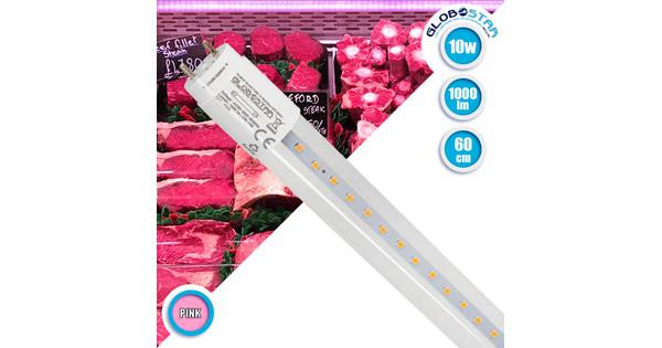 GloboStar® 99331 Λάμπα Σωλήνας Τύπου Φθορίου T8 Linear 60cm LED SMD 2835 10W 1000 lm 320° AC 85-265V IP20 CRI ≥90 Ροζ Ειδική για Κρεοπωλείο