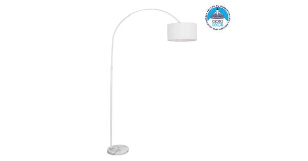 Μοντέρνο Φωτιστικό Δαπέδου Μονόφωτο Μεταλλικό Λευκό με Καπέλο Φ34  IMPERIAL WHITE 01588