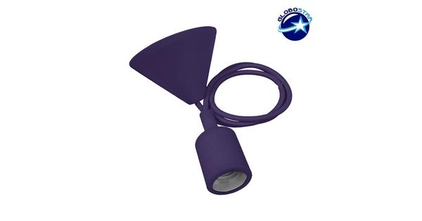 Μωβ Κρεμαστό Φωτιστικό Οροφής Σιλικόνης με Υφασμάτινο Καλώδιο 1 Μέτρο E27  Purple 91011