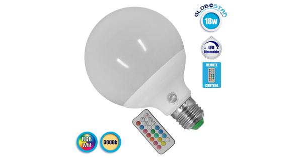Λαμπτήρας LED E27 G95 Γλόμπος 18 Watt 220 Volt RGB & Θερμό Λευκό με Ασύρματο Χειριστήριο GloboStar 88970