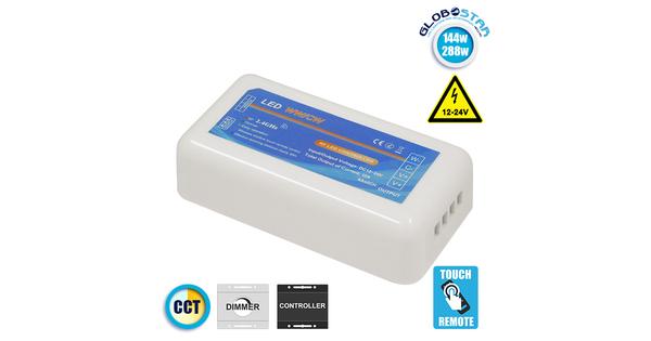Ασύρματος LED Δέκτης - Receiver Dimmer 2.4G RF CCT 2 Χρωμάτων για Groups 12v (144w) - 24v (288w) DC  73353