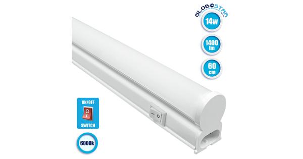 GloboStar 99314 Γραμμικό Φωτιστικό T5 Linear 60cm LED SMD 2835 14W 1400 lm 240° AC 85-265V IP20 με Διακόπτη ON/OFF Ψυχρό Λευκό 6000 K
