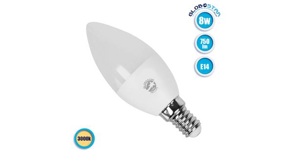 Κεράκι LED C37 με βάση E14 8 Watt 230v Θερμό GLoboStar 01720