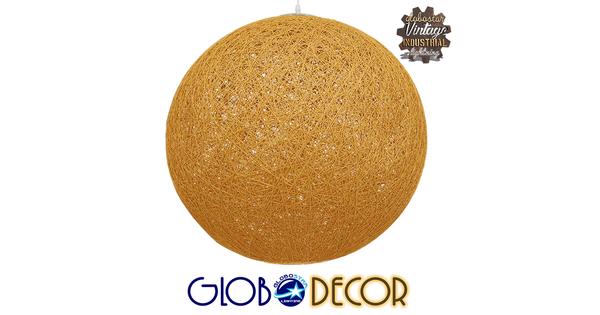 Vintage Κρεμαστό Φωτιστικό Οροφής Μονόφωτο Μπεζ Χρυσό Ξύλινο Ψάθινο Rattan Φ60  LOFT 01361