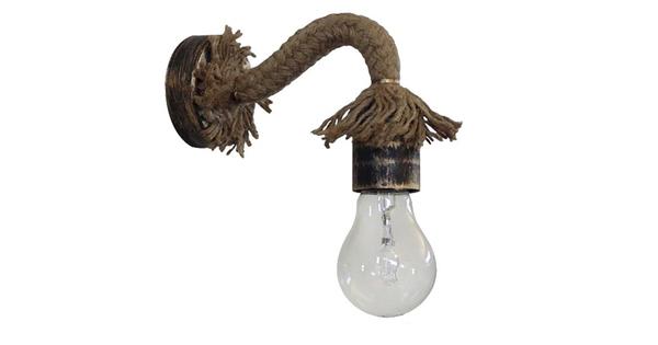 Vintage Φωτιστικό Τοίχου Απλίκα Μονόφωτο Μπρούτζινο Σκουριά Μεταλλικό με Μπεζ Σχοινί  SADON 01126